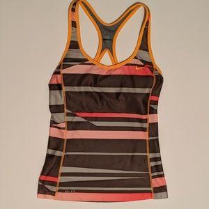 Nike Tank Large Shelf Bra Stripes Gray Brown Pink